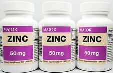Major Zinc 50 mg 100 Capsules Each -3 Pack -Expiration Date 06-2021