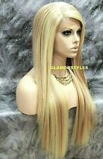 Human Hair Blend Long Straight Layered Blonde Mix Lace Front Full Wig #613.27