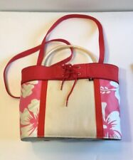 Tommy Hilfiger Tote Beach Bag Hawaiian Floral Pink w Red Trim Natural Canvas