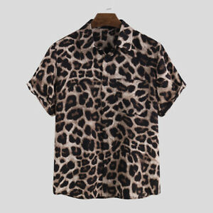 Mens Short Sleeve Leopard Printed Shirt Tops Casual Loose Party Club Blouse Tee
