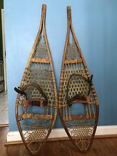 Rare W.F. TUBBS Antique Norway Products Snowshoes True Temper Wood Wooden