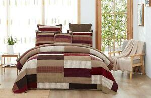 DaDa Bedding Crisp Flannel Warm Tones Cotton Velveteen Patchwork Bedspread Set