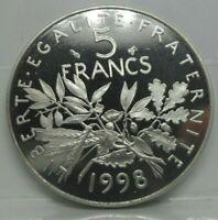 KM# 926a - 5 francs semeuse 1998 - BE - monnaie France - N2639