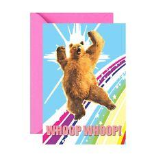 WHOOP BEAR ON A RAINBOW GREETINGS CARD (BIRTHDAY) GREAT FOR GAY PRIDE
