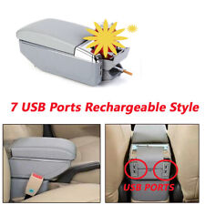 7 USB Rechargeable Style Car PU Central Container Armrest Storage Holder w/Light