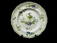 """Vintage Moustiers by LONGCHAMP (France) Hand Painted Dinner Plate 10 1/4"""""""