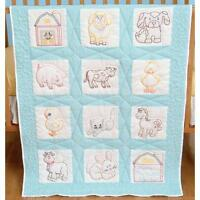 "DEMPSEY-Quilt squares Farm Animals design(12) 9""X9"" Stamped for Embroidery Cross"