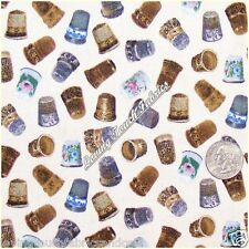 """ELIZABETH'S STUDIO """"A STITCH IN TIME"""" THIMBLE SEWING THEME FABRIC PRICED @ 1/2 Y"""