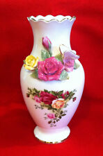 """Royal Albert Old Country Roses Signed 8"""" Bouquet Vase with 3D Roses & Butterfly"""