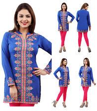 UK STOCK- Women Casual Indian Short Kurti Tunic Kurta Top American Crepe 164B