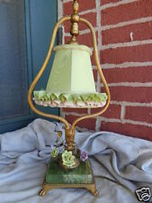VINTAGE FRENCH BOUDOIR PORCELAIN FLORAL ROSES GOLD GILT GREEN ONYX TABLE LAMP