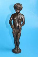 "Antike große Historismus Bronze-Skulptur ""Junge mit Flöte"""