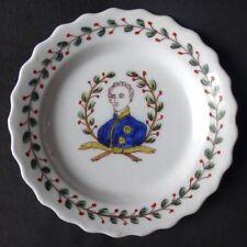 Ancienne assiette faience Roanne portrait La Fayette XVIIIème laurier