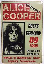 Alice Cooper 89 German Tour Concert Poster Vintage METAL SIGN Wall Decor 30x20Cm