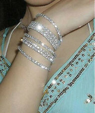 New Lady Bangle Elegant Cuff Bling Silver Plated Crystal Bracelet Jewelry Party