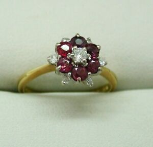 Beautiful 18 Carat Gold Ruby And Diamond Cluster Ring Size L