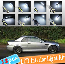 12-pc White Canbus LED Interior Light Package Kit Fit 99-05 BMW E46 Convertible