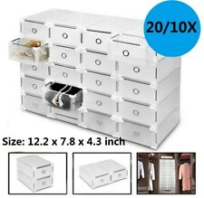 US Clear Plastic Shoe Storage Boxes Drawer Stackable Foldable Small Organiser