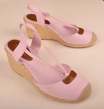 Chaps Womens Wedge Heels Size 8.5 B Espadrilles Pink Chambray 'Clarissa'