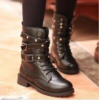 Womens Military Army Combat Flat Ankle Boots Lace Up Punk Motorcycle Biker Shoes