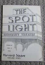 RARE vintage 1936 SPOT LIGHT movie theater HARVARD SQUARE Cambridge MA  program