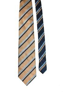 Canali Tie Beige Blue  Diagonal Stripe Woven Silk Necktie 9.5 cm Width