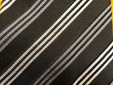 DONALD TRUMP ~ MENS SILK DRESS SHIRT SUIT TIE ~ BLACK GRAY SILVER ~ STRIPE