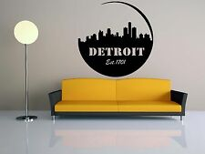 Wall Vinyl Sticker Decal Skyline Panorama City Detroit Michigan Vintage F1849