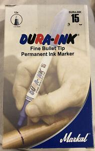 12 Markal 96027 Dura-Ink Permanent Markers, 1.5 mm Fine Bullet Tip, Silver NIB