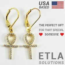 14k Gold Filled Over Silver & Clear Cz Ankh Cross Leverback Earrings / Fine Gift