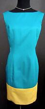 Randolph Duke   Colorblock Sleeveless Dress   Bright Turquoise Yellow Gold Sz S