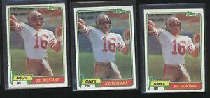 Lot (x3) 1981 Topps JOE MONTANA Rookie Cards RC #216 49ers