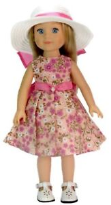 """Floral Dress & Hat fits 14.5"""" American Girl Wellie Wishers Doll Clothes Wisher"""