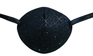 Black Sparkle - Medical Adult Eye Patch, Soft Washable sold to NHS