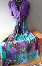 Monsoon Fantasia silk pattern maxi dress & Phase Eight purple shrug outfit 16