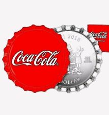 2018 Fiji Coke Coca-Cola Bottle Cap-Shaped 6g Silver Color Proof $1 Coin GEM