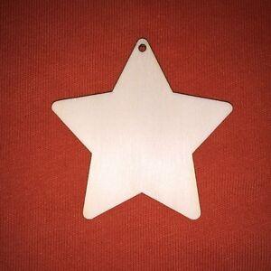10 x V- STAR 8cm PLAIN WOODEN HANGING SHAPE FOR CRAFT EMBELLISHMENTS XMAS TAG