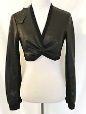BCBG MaxAzria Faux Leather Bolero Top. Black NWT Retail $98 Price $ $48
