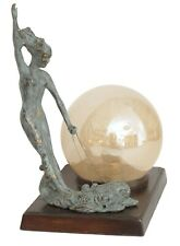 Seltene Orig. Art Deco Sculpture Lamp Light Brass Bronze 1930 Grazie Fish