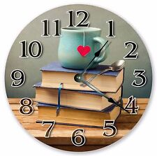 "10.5"" BOOKWORM'S CLOCK - COFFEE LOVER'S CLOCK - Large 10.5"" Clock - 3353"