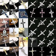 73Stils Edelstahl Halskette mit Bibel Gebet Kreuz Anhänger für Herren Damen Mode