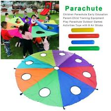 117inch Kids Play Parachute Nylon Outdoor Game Toy w/Handles & Carry Case Child