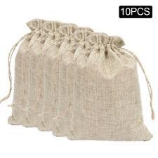 10pcs Bag Natural Linen Pouch Drawstring Burlap Jute Sack Drawstring Gift Bags