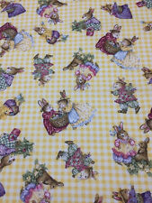Holly Pond Hill Easter Bunnies Yellow Check Cotton Fabric Quilt Sew OOP 1.5 YDS