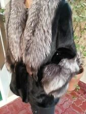 GLAMOROUS Red Carpet Black Mink Fur Coat Jacket Huge Real Silver Fox Collar