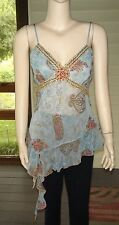 """Co-me Como"" Light Blue Multi Poly. Embell. Spag. Strap Top~Size L (M) N/W/O/T"