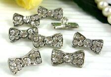 8 Sparkling Clear Crystal/Rhinestone Bow Silver Shank Buttons-Craft N059