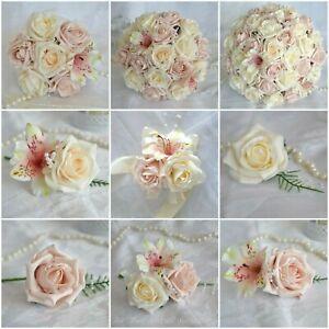 Wedding Bouquet Posy Dusty Pink buttonholes corsage Bride Bridesmaid 2021 Design