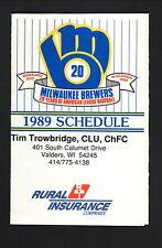 Milwaukee Brewers--1989 Pocket Schedule--Rural Insurance