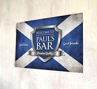 Personalised Bar Scottish Highlands Flag Chrome Crest Beer Label sign metal Sign